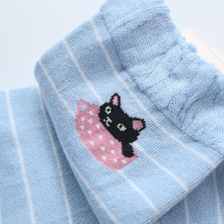 シルク混ワンポイント猫柄ソックス