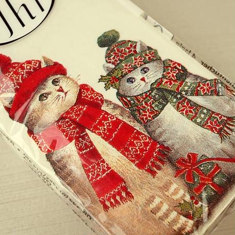 ペーパーナプキンセット・クリスマスマフラーキャット(12-061)