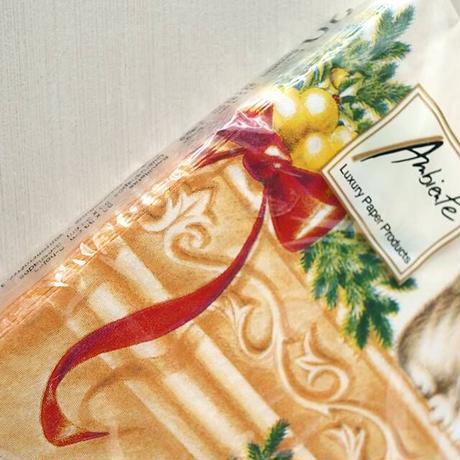 ペーパーナプキン・クリスマス暖炉キャット(12-015)