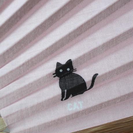 扇子・黒猫ワンポイント(02-062)
