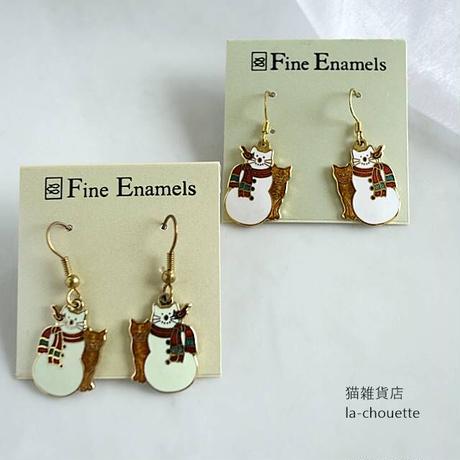 エナメル(七宝)ピアス・雪だるまと茶トラ