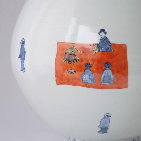工房あめつち/Kobo Ametsuchi「色絵 お花見大壺」