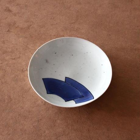 藍九谷扇面文皿
