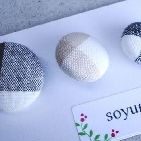 【soyumi*】くるみボタン大中小セット チェック柄セット P37-0181
