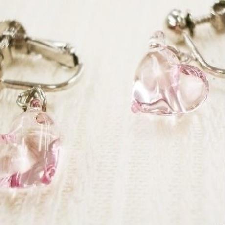 【ガラス工房Lamb】ハートイヤリング(ピンク) L4-0201