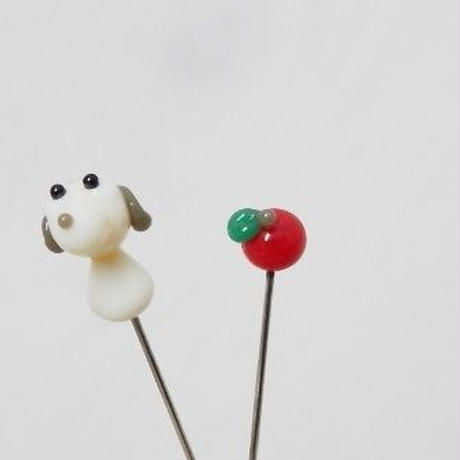 【gemma】まち針2本セット 犬&りんご L13-1707