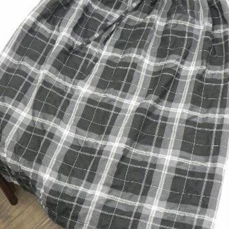 【ああ】ロングギャザースカート 黒チェック P17-0842