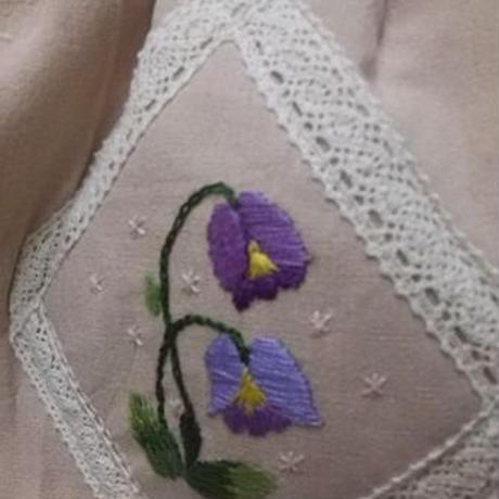 【ああ】刺繍の入ったグラニーバッグ 紫花 P17-1189