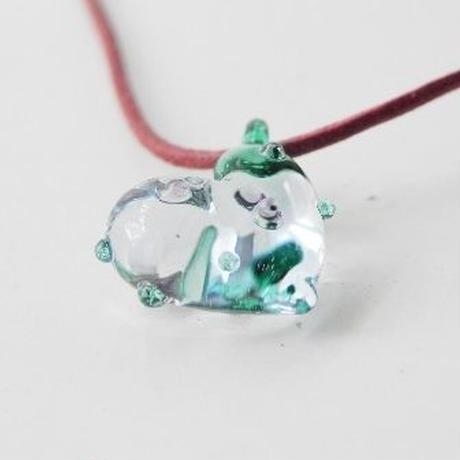 【ガラス工房Lamb】ドットハートペンダント 緑 L4-225