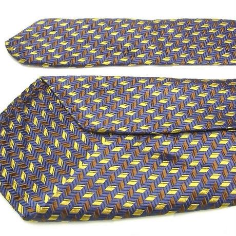 オシャレ上級者のための1本|チェスターバリー|CHESTER BARRIE|織り柄の綺麗なセブンフォールド|ブルーネイビー系ネクタイ【USED】0302