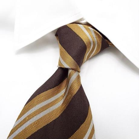 【オールディーズスタイルにも◎】永島服飾扱い|ブラウン系ストライプネクタイ|シルク100%|日本製|USED|1点物