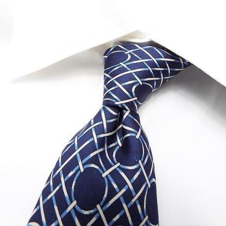 【昭和レトロ】ブルー系古典模様ネクタイ|ブルー系|日本製|シルク100%|USED|