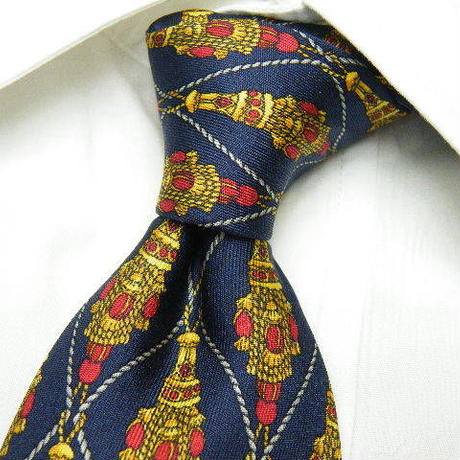 さすが高級ブランドの存在感◎【Chrstian Dior MONSIEUR】イタリア製 ネイビー&ゴールド総柄ネクタイ|紺金系|USED|171103