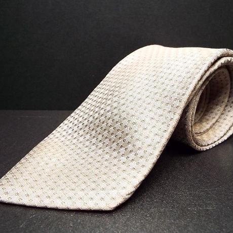 スーツメーカーの素敵な1本【ONLY(オンリー)】ブラウンベージュ系総柄ネクタイ|シルク100%|USED|743766402072