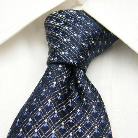 【WITH GALLERY(ウイジット扱い)】イタリア素材 ネイビー系スーツに◎ 厚手ブルー系光沢パターン柄ネクタイ【ブルー青銀系】【USED】1600623-011