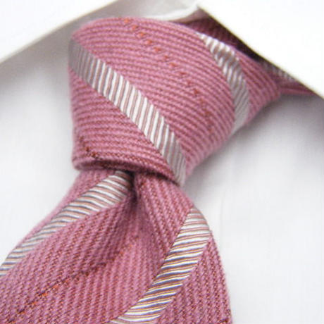 【カジュアル使い◎】イタリア製生地使用 シルク混綿ネクタイ【ピンクシルバー系】【USED】20190429-004