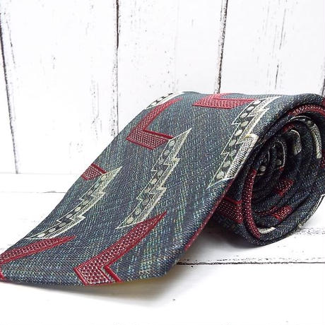 西陣織のヴィンテージ物|古典模様グリーン系デザインネクタイ|シルク100%|USED|743766401991