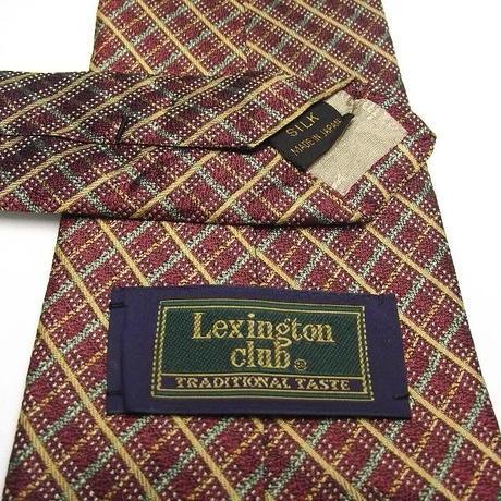 日本製【LEXINGTON CLUB】エンジ(ブラウン)&グリーン系クロスストライプネクタイ【USED】0302
