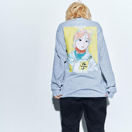 WANTED LS Tee *ONE PIECE *with古塔つみ  (heather gray)