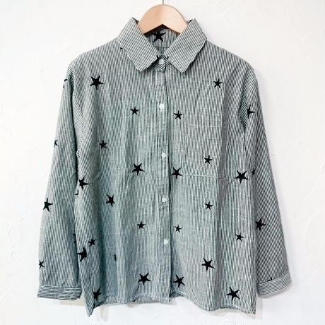 星柄刺繍ヒッコリーシャツ(レディース)
