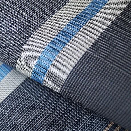 【夏なごや帯】紺鼠地 縞文 からむし織 八寸なごや帯   反物 お仕立て付き