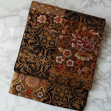 【ふくろ帯】更紗と文様柄市松文袋帯