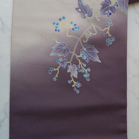 【なごや帯】渋紫暈し 葡萄文 塩瀬なごや帯
