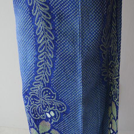 【浴衣】青色地 花文 細かな絞り浴衣