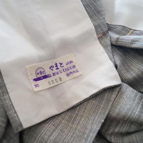 【単衣】薄灰色 幾何学文 紬