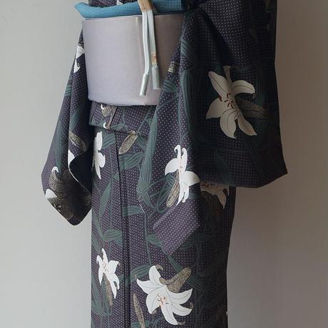 【袷】トールサイズ 藍鉄色地 水玉に百合柄 小紋 Y-2-10