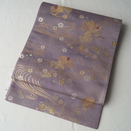 【ふくろ帯】三越扱い 藤紫地流水に松や桜文袋帯