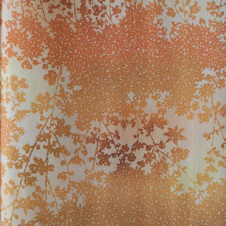 【袷】橙系グラデーション木立の文様小紋