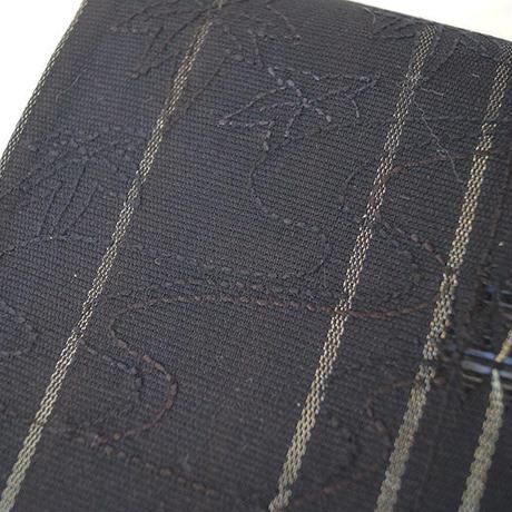 【ふくろ帯】黒地 縞に笹文刺繍 洒落ふくろ帯