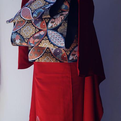 【振袖】トールサイズ 赤色 寿光織 振袖コーディネートセット