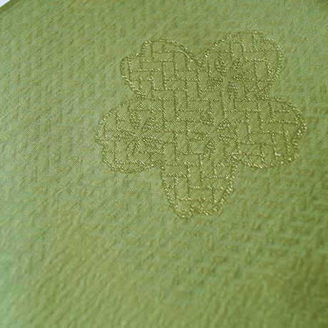 【帯揚げ】草色 桜と網代文 帯揚げ №210407