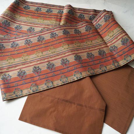 【ふくろ帯】樺色地 縞と花文 川島織物製ふくろ帯
