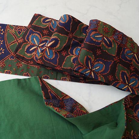 【なごや帯】青緑系 円形に更紗バティック なごや帯