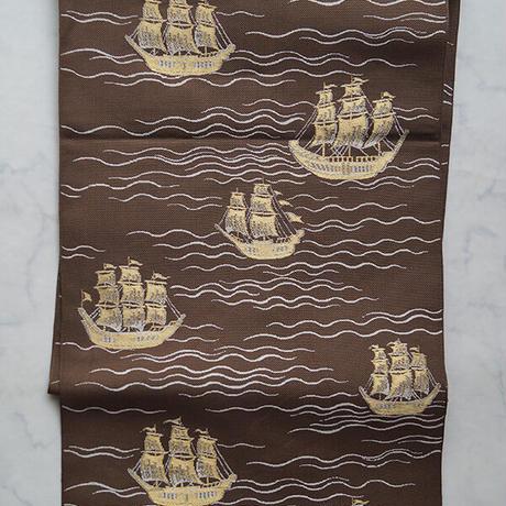 【なごや帯】憲法色 波と帆船柄 単なごや帯