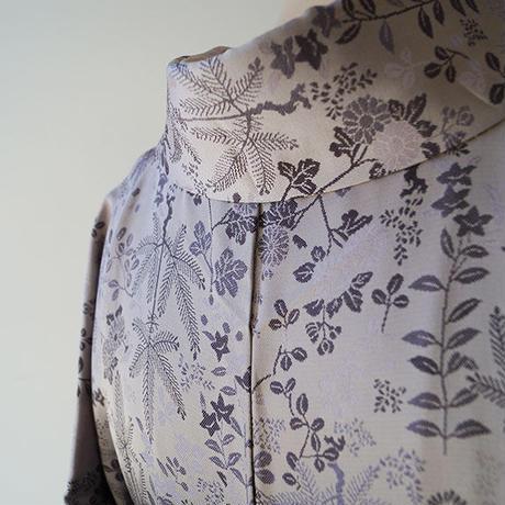 【袷】牡丹鼠地 菊と松葉織地紋 お召