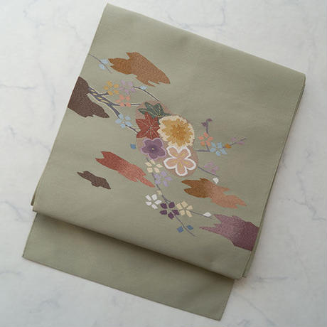 【なごや帯】爪綴れ 四季花文 なごや帯