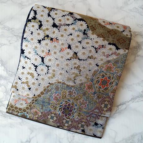 【ふくろ帯】菊と道長取りに華文 ふくろ帯