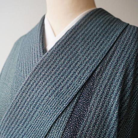 【単衣】深緑色系 変わり縞 小紋