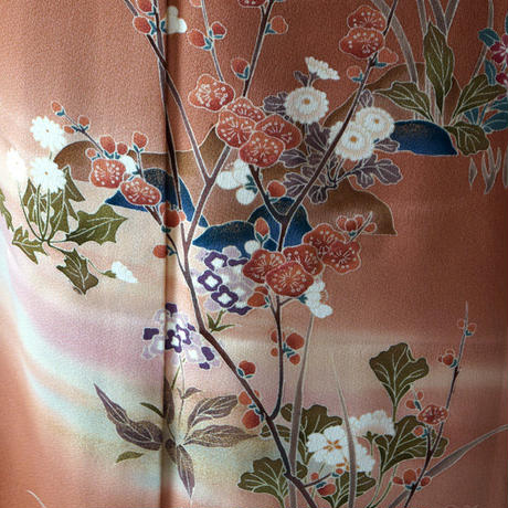 【袷】テラコッタ色系野菊の附下