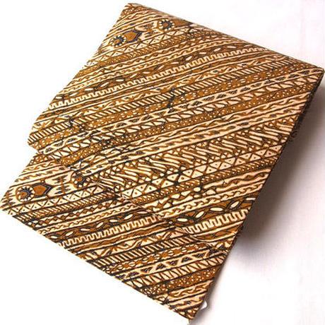 【なごや帯】ジャワ更紗 キャメル色系 斜め縞 名古屋帯