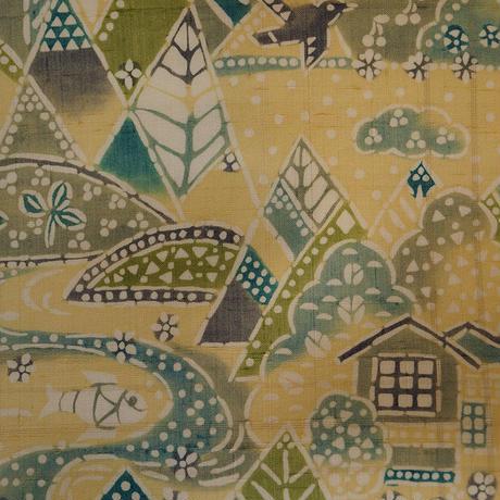 お取り置き中・【なごや帯】里山風景の型染め紬なごや帯