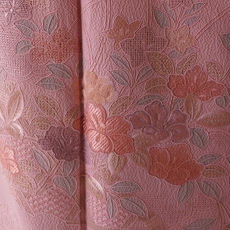【袷】桃色地花々のスワトウ刺繍附下