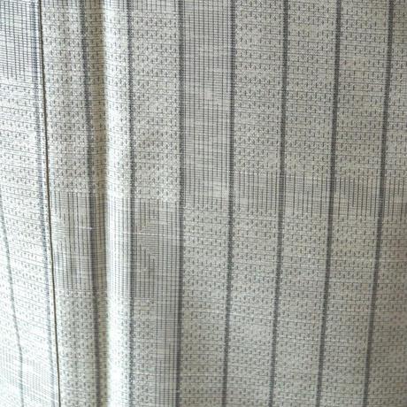 【袷】淡い草色縞柄紬
