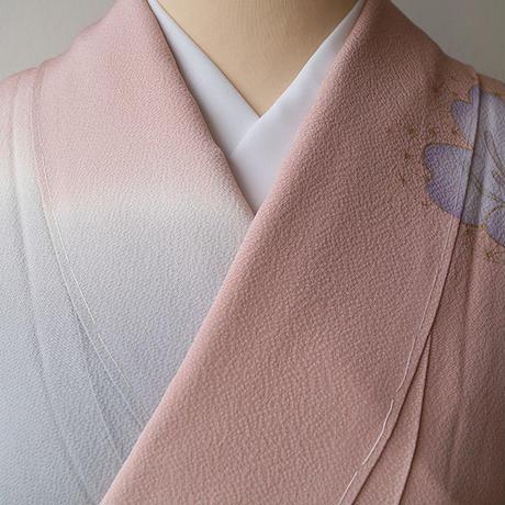 【袷】珊瑚色系大きな桜文訪問着 5k81