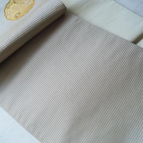【ふくろ帯】アイボリーベージュ地に金糸 華文や丸菊ふくろ帯