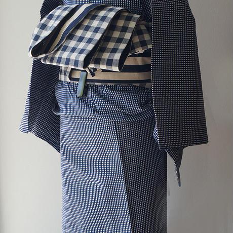 【浴衣】寒色系 格子文 浴衣